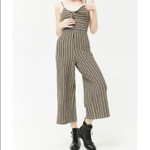 Forever 21 Ribbed Stripped Tie Front Jumpsuit